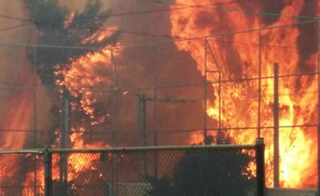 """""""נאבקים בלשונות האש"""" (צילום: כב""""ה איו""""ש)"""