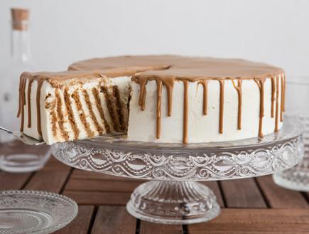עוגת ביסקוויטים זברה חגיגית פרוסה