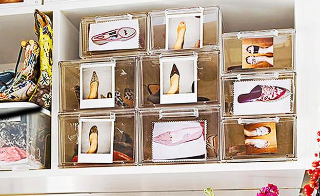 סידור הארון, קופסאות נעליים (צילום:  BETTER HOMES AND GARDENS)