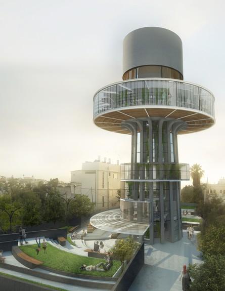 השמשת מגדל המים בעג׳מי של נועה סולומון (צילום: הדמייה נועה סולומון)