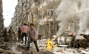פוקימון בסוריה (עיבוד: Khaled Akil, צילום רקע: AFP)