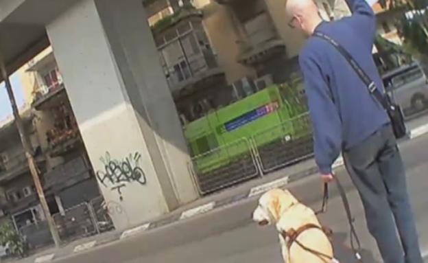בחור עיוור עם כלב נחייה (צילום: חדשות 2)