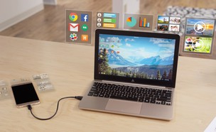 Superbook, מחשב נייד שהמוח שלו הוא הסמארטפון שלכם (צילום: קיקסטארטר)