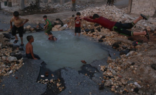 בריכה בלב חאלב (צילום: twitter/AleppoAMC)