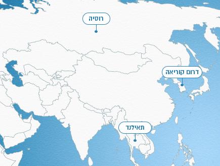מפת העולם - אסיה (אינפוגרפיקה: סטודיו mako)