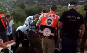 """זירת הפיגוע הבוקר באפרת (צילום: מד""""א)"""