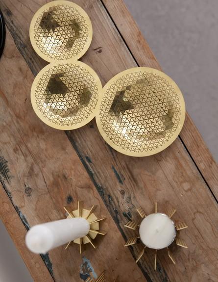 עיצוב בזהב , זהב12, שלישיית קעריות זהובות,  (צילום: הגר דופלט)
