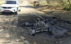 הטרקטורון שעלה באש בצפון, היום (צילום: דוברות מחוז צפון במשטרה)