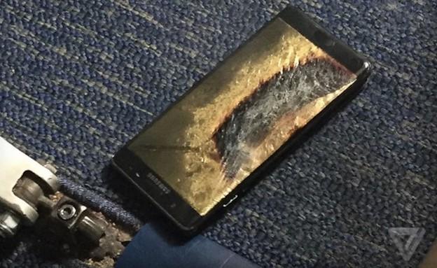 גלקסי נוט 7 שנשרף במטוס (צילום: The Verge)