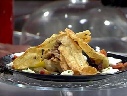 """קרעי פסטה עם סטייק טרטר וסלט עגבניות (צילום: מתוך """"מאסטר שף"""" עונה 7, שידורי קשת)"""