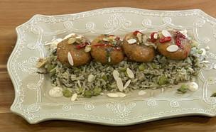 """קציצות לוקוס מטוגנות עם אורז ופול ירוק (צילום: מתוך """"מאסטר שף"""" עונה 7, שידורי קשת)"""