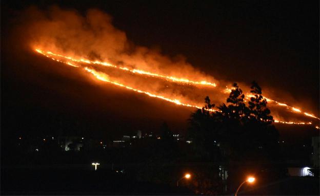 השריפה ליד כרמיאל (צילום: כב