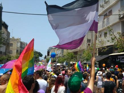 דגל הא-מיניים מונף במצעד הגאווה (צילום: אוריה בן ברית)