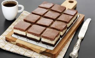 קוביות עוגת גבינה וממרח שוקולד (צילום: ענבל לביא, אוכל טוב)