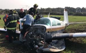 """המטוס אחרי נחיתת החירום (צילום: מד""""א)"""