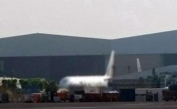 המטוס לאחר שנחת בישראל