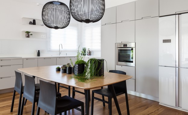 חיפוי זכוכית01, מטבח בגוון אפור עדין וחיפוי זכוכית לבנה (צילום: טל ניסים עיצוב: עדי אדליס)