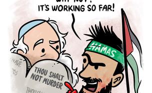 קריקטורת תגובה לפליפה (צילום: ולאדיק סנדלר)