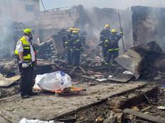 """זירת הפיצוץ במפעל הזיקוקים בשרון (צילום: זק""""א)"""