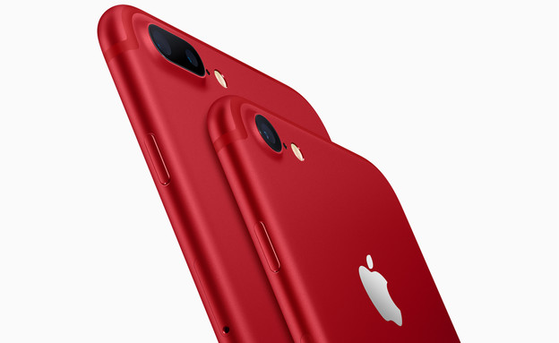 אייפון 7 ו-7+ בצבע אדום (צילום:  יחסי ציבור )