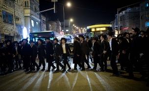 הפגנות חרדים בירושלים. ארכיון (צילום: יונתן סינדל / פלאש 90)