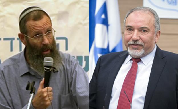 הרב יגאל לוינשטיין ואביגדור ליברמן (צילום: מרים אלסטר / פלאש 90)