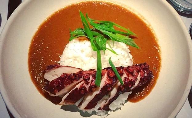 תמנון בקארי יפני, יא פן (צילום: ג'רמי יפה, אוכל טוב)