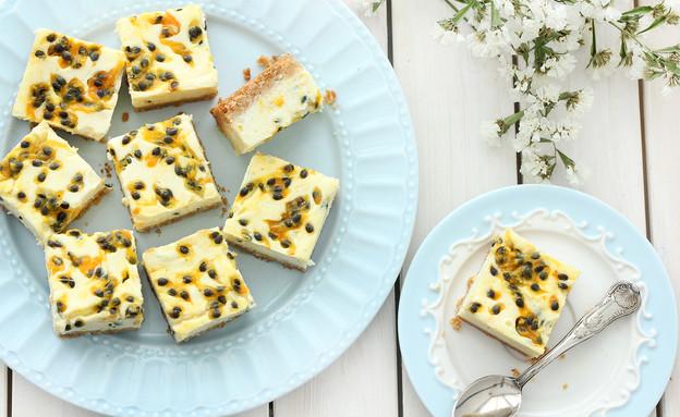 קוביות עוגת גבינה ופסיפלורה (צילום: ענבל לביא, אוכל טוב)