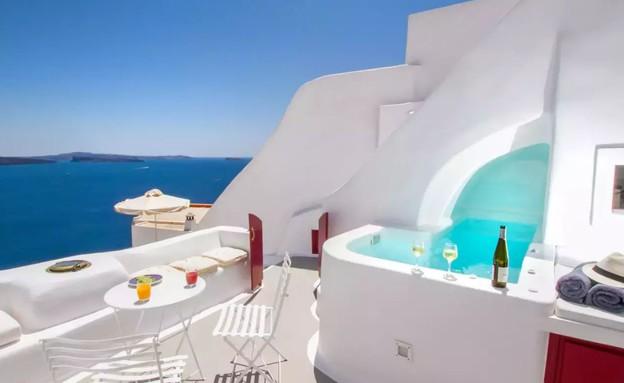 בית אבן סנטוריני יוון 2 (צילום: airbnb.com)