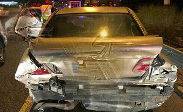 הרכב לאחר התאונה (צילום: דוברות המשטרה)