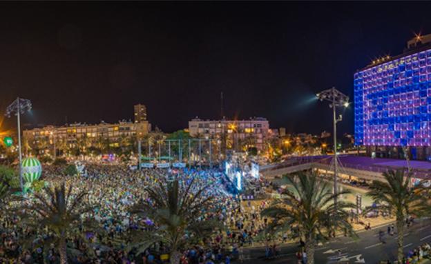 אלפים בהפגנת השמאל בתל אביב (צילום: טוויטר שלום עכשיו)
