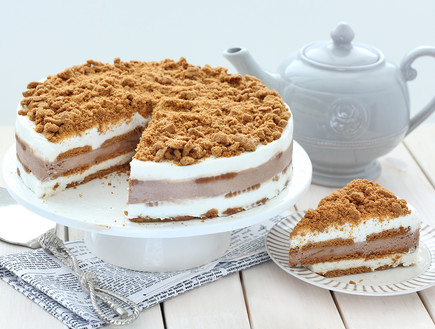 עוגת ביסקוויטים עם גבינה ולוטוס