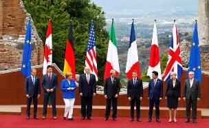 מנהיגי העולם בכנס ג'י 7 באיטליה (צילום: חדשות 2)