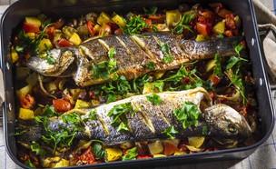 דגים צלויים בעגבניות ואוזו (צילום: אפיק גבאי, מתכון לחיסכון)