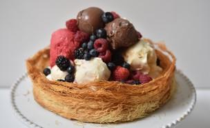 עוגת קדאיף וגלידה (צילום: חן ואלון קורן, אוכל טוב)