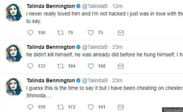 ציוצים מאישתו של בנינגטון (צילום: twitter)