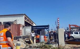 שני פועלים נפצעו בנמל חיפה החדש (צילום: איחוד הצלה)
