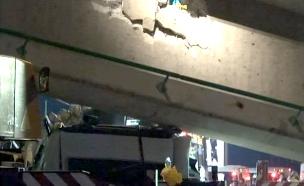 קריסת הגשר בכביש  - חילוץ (צילום: חדשות 2)