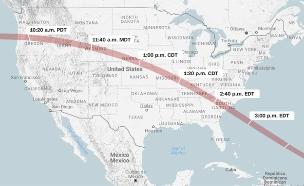 זה המסלול של ליקוי החמה (צילום: CNN)