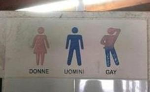 שלט שירותים באיטליה (צילום: מתוך פייסבוק)