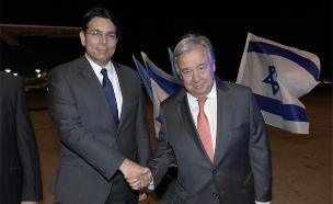 """מזכ""""ל האו""""ם והשגריר דנון (צילום: שלומי אמסלם)"""