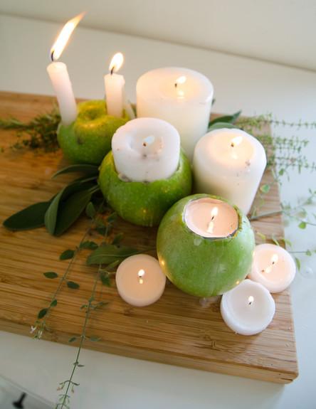 פמוט תפוח ג, שלבו נרות בכמה צורות, 005 (צילום: נועה קליין)