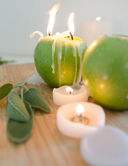 פמוט תפוח, ג, 001קשטו בצמחי תבלין, (צילום: נועה קליין)