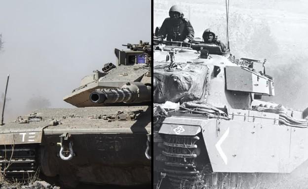"""טנק ביום כיפור והיום (צילום: דובר צה""""ל )"""