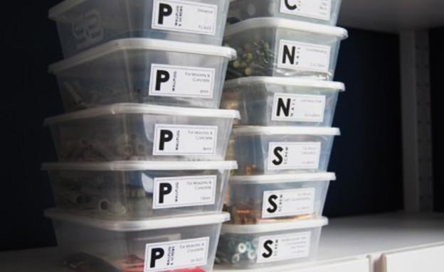 מחזור11, תוויות לארגון תכולת הקופסאות (צילום: littlehouseonthecorner.com)
