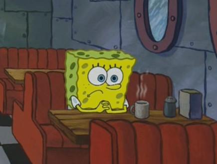בובספוג אוכל לבד (צילום: צילום מסך, מעריב לנוער)