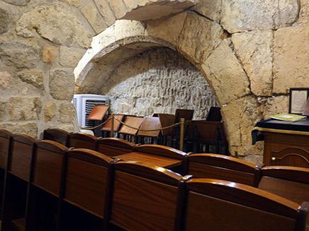 """בית הכנסת ע""""ש הרב גץ במנהרות הכותל (צילום: חדשות 2)"""