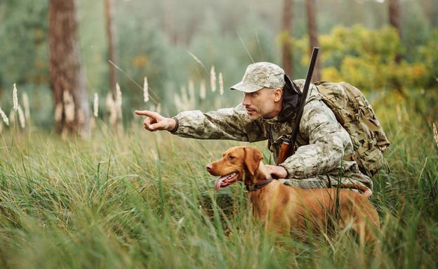 צייד וכלב בשדה ירוק (צילום: יחסי ציבור, ShutterStock)