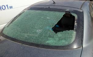 רכב שנפגע מאבנים, ארכיון (צילום: ביטחון תקוע)