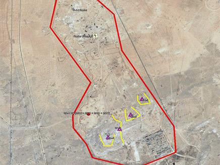 מיקום הסוללה שהושמדה ממזרח לדמשק